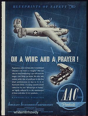 1943 WW II Consolidated B-24 LIBERATOR WWII WW2 AAC Aircraft Parts Vintage AD