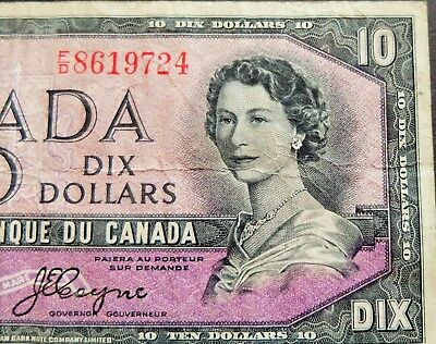 """1954 """"devils Face"""" Bank Of Canada $10 Dollar Note, Circulated Condition, Lot#666"""