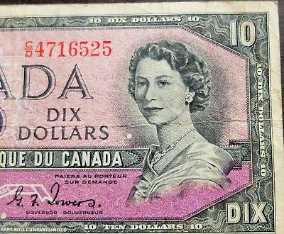 """1954 """"devils Face"""" Bank Of Canada $10 Dollar Note, Circulated Condition, Lot#667"""