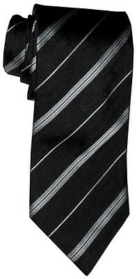 $285 New Brioni Black Silver White Diagonal Stripes Handmade Silk Mens Neck Tie