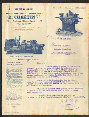 "PARIS (XI°) USINE / MACHINES-OUTILS ""Ets. Georges JORIS / E. CHRETIN Succ."" 1911"