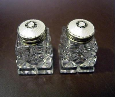 Hroar Prydz Guilloche Enameled Sterling & Cut Glass Salt Pepper Shakers Norway