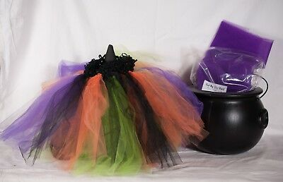 Toddler Tulle Halloween Costume Witch Skirt Handmade Hat & Couldron