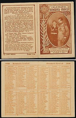 1938,King Carol II & Michai of Romania,Double Calendar Card