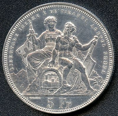 "Switzerland 1883 5 Franc "" Shooting Thaler "" Silver Coin (.835)"