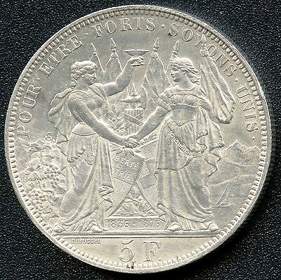 "Switzerland 1876 5 Franc "" Shooting Thaler "" Silver Coin (.835)"