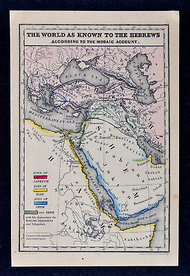 1868 Biblical Map - Ancient World of Hebrews  Descendants of Moses - Middle East