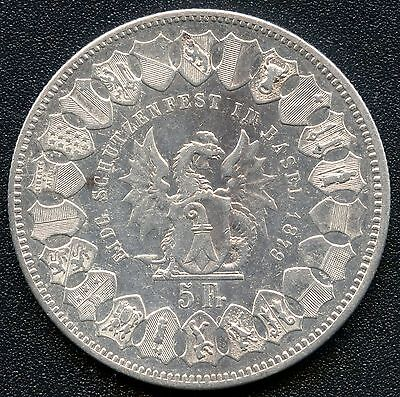 "Switzerland 1879 5 Franc "" Shooting Thaler "" Silver Coin (.835)"