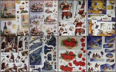 3D A4 Die Cut Paper Tole Decoupage Christmas Boy Sled 2 pictures No Cutting NEW