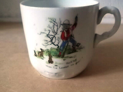 Pre 1931 Small Cup By F Winkle With A Hunter And Rabbits Comical Picture