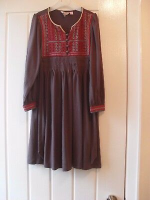 MONSOON Girls Brown Embroidered Dress ~ 6-7 Years