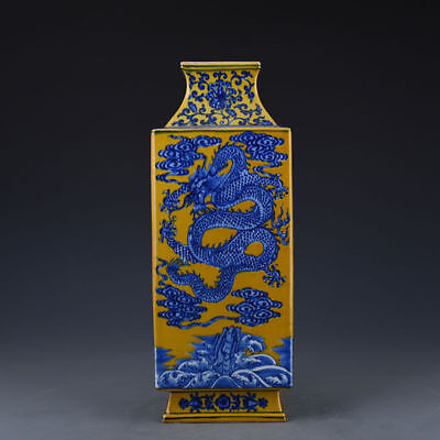 Chinese Qianlong blue and white dragon and phoenix pattern square bottle