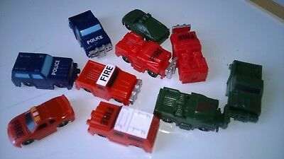 Trucks x 10 large random assortment  DOLLS HOUSE MINIATURES / RAILWAY (F5912)