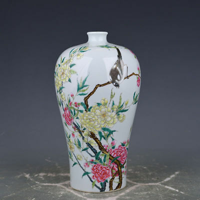 Exquisite Chinese Qing Yongzheng pastel flowers and birds vase