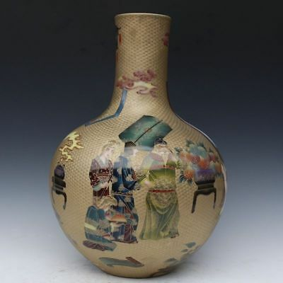 Chinese Exquisite Hand Painted people pattern Porcelain bottle vase 14.17inch