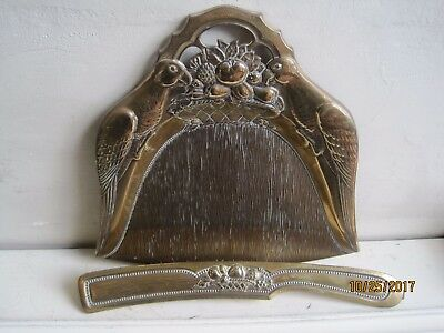 Antique Brass Aesthetic Movement Style Crumb Tray & Brush. (Parrots & Fruit)