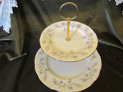 Lovely Large Vintage Duchess China Plated 2 Tier Cake Stand 'tranquility'