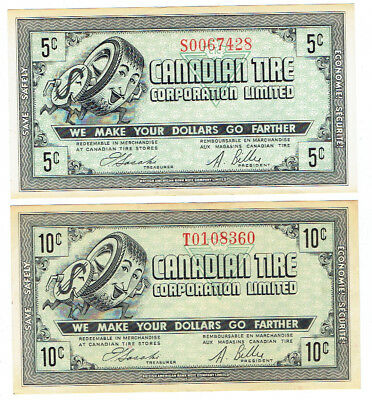 Early 1960's 5 and 10 cent Canadian Tire Corporation Profit Sharing Coupons