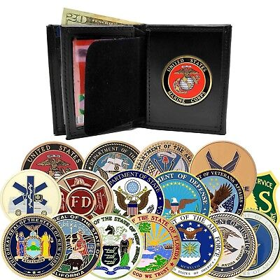 Perfect Fit Leather Bifold Wallet Mens w Medallion Military State Federal Seal