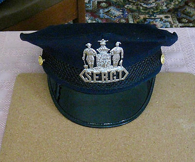 for sale1 vintage 8 point Baltimore Sergeants Hat with Sergeants hat badge