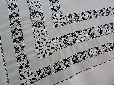 Pair Antique Vintage Small Table Covers Pillow Layovers NEEDLE LACE 28 x 29""