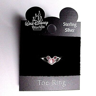 OFFICIAL Disney Minnie Mouse Solid Sterling Silver 925 3 Pink Crystal Toe RIng