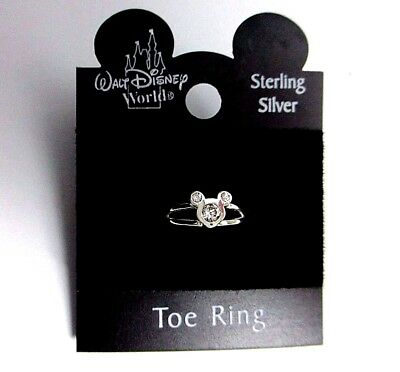 BRAND NEW Solid Sterling Silver 925 3 Clear Crystal Disney Mickey Mouse Toe RIng