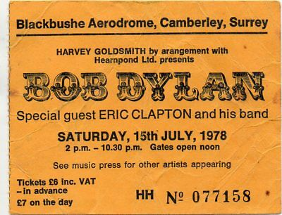 Bob Dylan Eric Clapton Concert Ticket1978 Vintage Fully Dated Valuable 39 Yrsold