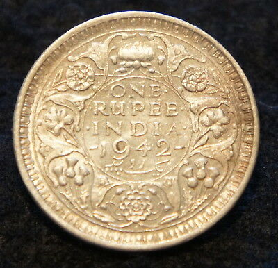 1942 India Rupee in AU Condition 50% SILVER  Very NICE Collectible!