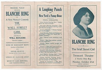 Scarce 1910s BLANCHE RING The Wall Street Girl TREMONT THEATRE Brochure BOSTON