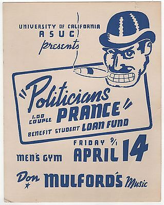 1960s UNIVERSITY CALIFORNIA BERKELEY Political Poster CAL Protest DON MULFORD