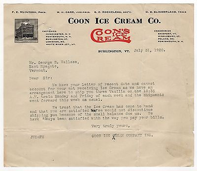 1920 COON ICE CREAM Billhead COON'S Burlington Vermont VT Dairy EAST RYEGATE