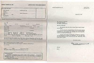 1952 SMITH BARNEY & CO Recruiting Letter BUSINESS APPLICATION Banking FINANCIAL
