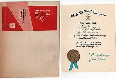 1959 DALE CARNEGIE COURSE Envelope CERTIFICATE Diploma BOSTON New England SCHOOL
