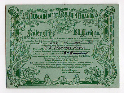 1945 DOMAIN OF THE GOLDEN DRAGON Card US NAVY SS Mormachawk INT'L DATE LINE