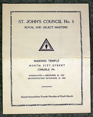 1944 CARLISLE PENNSYLVANIA Masonic Temple MASONS Freemasonry ST JOHN'S COUNCIL