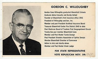 1968 GORDON WILLOUGHBY Political PC Postcard BLOOMFIELD Connecticut CT Hartford
