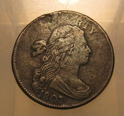 1807 Draped Bust Large Cent Penny - NICE Detail Rotated Reverse - 65SU