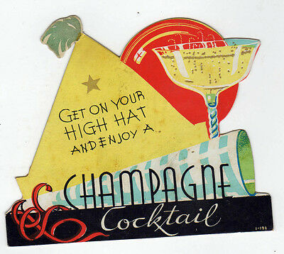 1940s ALCOHOL Liquor Advertising Card CHAMPAGNE Drink COCKTAIL Advertisement