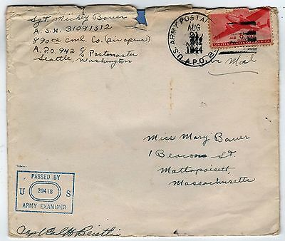 1944 APO US Army Examiner MILITARY Birthday Card 890th Sgt Bauer SEATTLE Wash