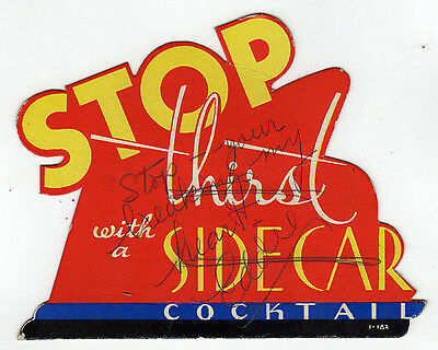 1940s ALCOHOL Liquor Advertising Card SIDECAR Drink COCKTAIL Advertisement