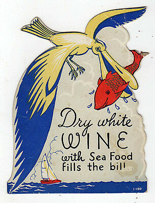1940s ALCOHOL Liquor Advertising Card WHITE WINE Drink COCKTAIL Advertisement