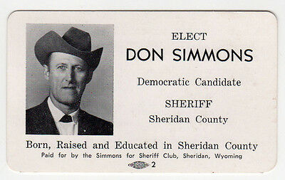 VINTAGE WYOMING Political Palm Card DON SIMMONS Sheriff SHERIDAN COUNTY WY