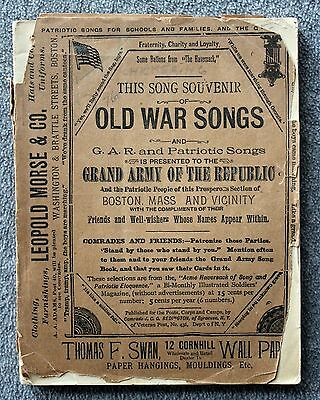 SOUVENIR OLD WAR SONGS GAR Patriotic CIVIL WAR Boston GRAND ARMY REPUBLIC 1890s