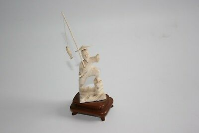 Chinese Bovine Bone Hand Carved Fisherman Fish Figure Statue with Wooden Stand