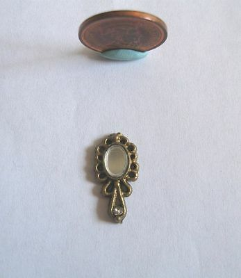 Dollhouse Miniature Gold Hand Mirror 1:12 Scale