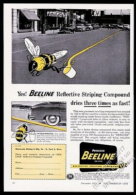1953 Beeline road striping reflective compound bee art vintage trade print ad