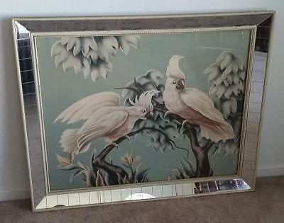 Vintage 1930s-40s Large Turner Cockatoo's Print Art Deco Mirrored Picture Frame