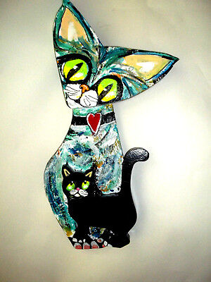 "CATS outsider folk art wood sculpture Gail Grant art 16"" x 8"" signed dated"