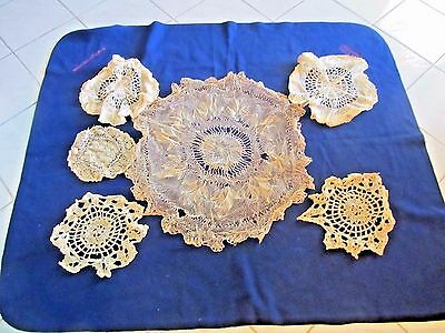 Lot of 6 Antique Handmade Doilies Needle Lace, Netting & Crocheted Lace ca 1900